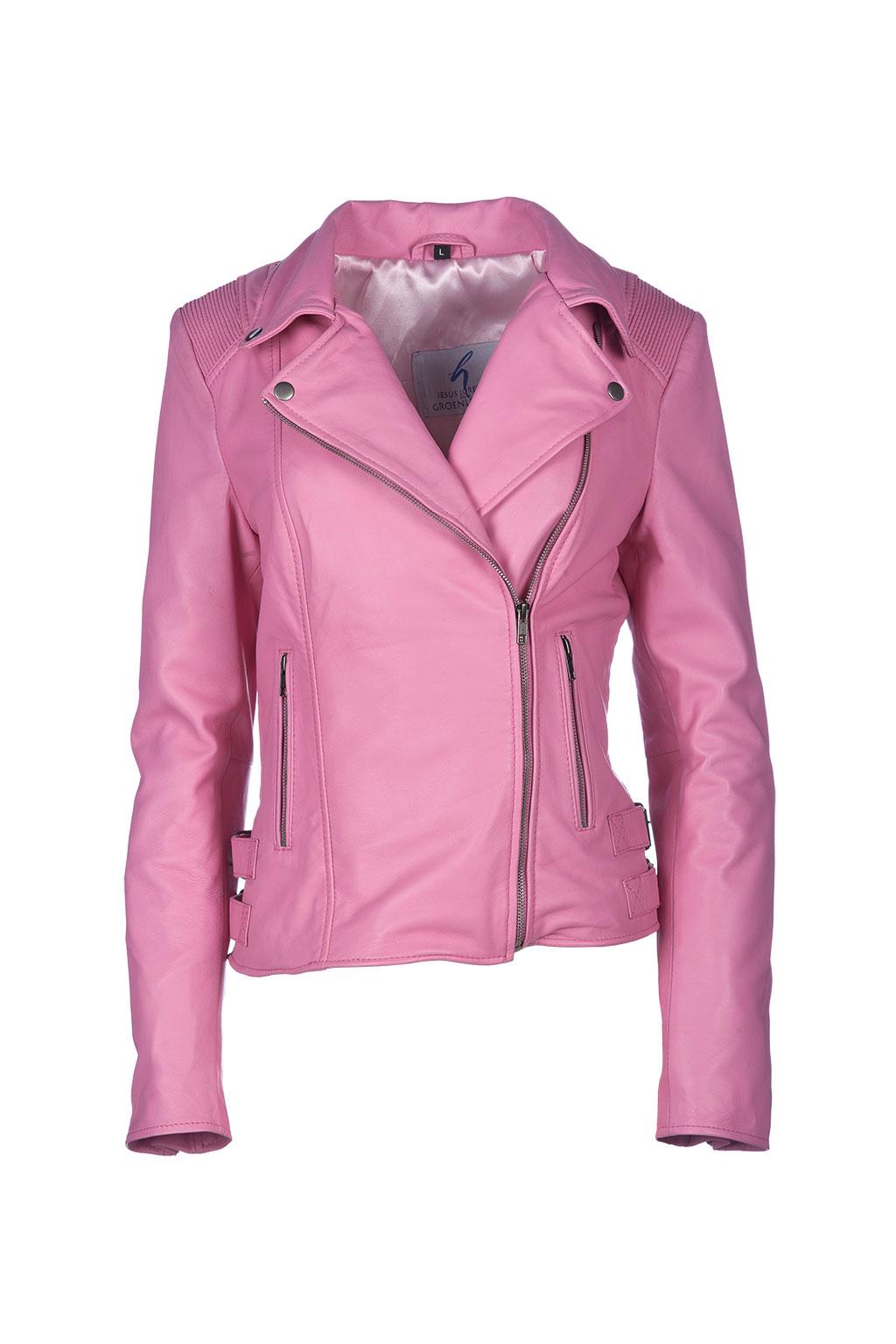 mejor precio para tecnicas modernas calidad de marca Cazadora rosa napa cremallera